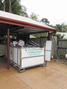 The bins can go in garages and under carports. Great for hot or rainy day loading