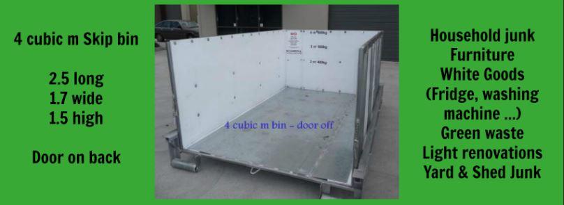 4 cubic m skip bin banner